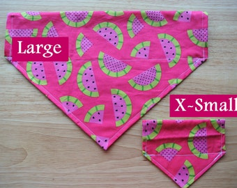Watermelon Patch Reversible Slip-On the Collar Bandana: For Dogs and Cats