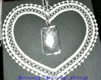"""""""Stability"""", a very pure stone Crystal Necklace quartz necklace in 925 sterling silver chain"""