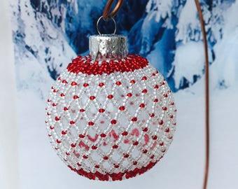 Beaded Christmas decoration; christmas bauble; christmas tree ornament; victorian decoration; handmade ornament; beaded decoration