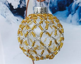 Gold Christmas decoration; christmas bauble; christmas tree ornament; victorian decoration; handmade ornament; beaded decoration