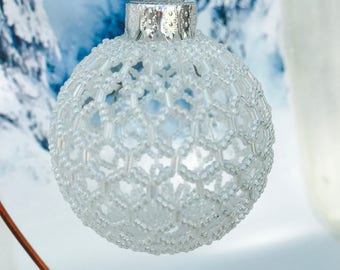Beaded Christmas decoration; white christmas bauble; christmas tree ornament; victorian decoration; handmade ornament; beaded decoration