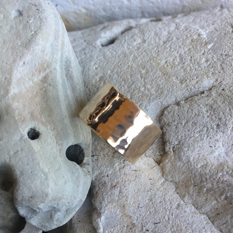 wide band hammered 14k gold filled ring The Gratitude Ring comfortable and waterproof!