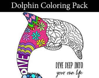 Inspiring Dolphin Coloring Pack - Download and Color