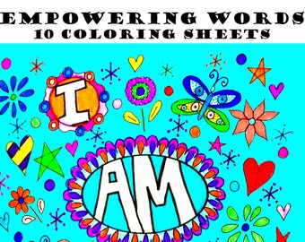 Empowering Words Coloring Pack- 10 Images to Download & Color