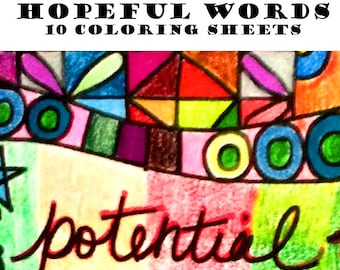 Hopeful Words Coloring Pack- 10 Images to Download & Color