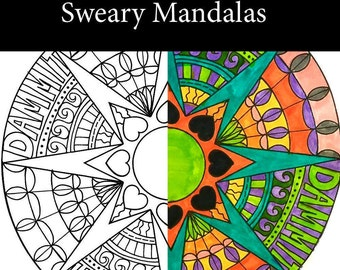 Sweary Mandala Fun Pack of 10 to Download and Color Today