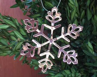 copper snow flake ornaments set of 3 copper christmas decorations christmas ornaments