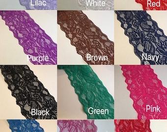 "NEW Designer Jet Black Stretch Floral Lace Fabric 57/""146cm High Class Lace Cloth"