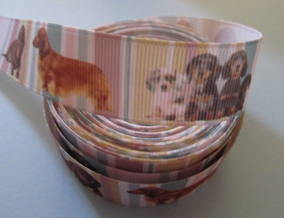 "Grosgrain Sausage Dog with Paw Prints Ribbon 7//8/"" 22mm"