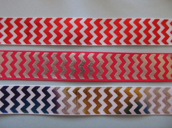 "Grosgrain Wave Chevron Metallic Ribbon 7//8/"" 22mm ***DIFFERENT COLOURS***"