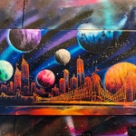 Universe. NYC Skyline. Spray Paint Art on Stretched Canvas.