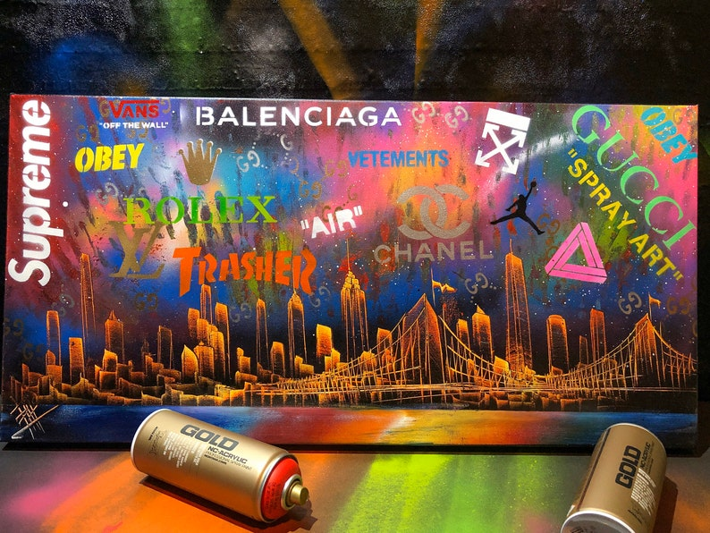 HYPEBEAST NYC Skyline. Spray Paint Art on Stretched Canvas. image 0
