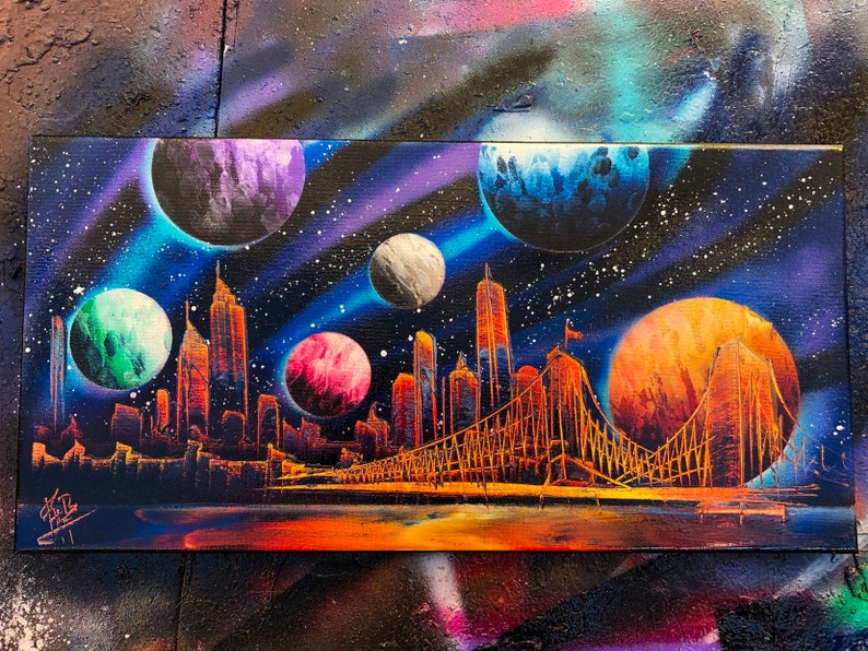 Universe. NYC Skyline. Spray Paint Art on Stretched Canvas. image 0