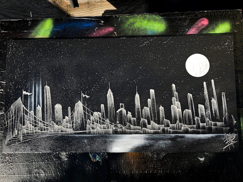 Moonlight XL. NYC Skyline With 9/11 Memorial . Spray Paint Art image 0