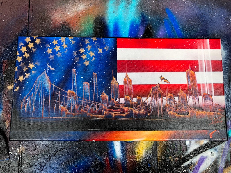 American Flag. NYC Skyline. Spray Paint Art on Stretched image 0