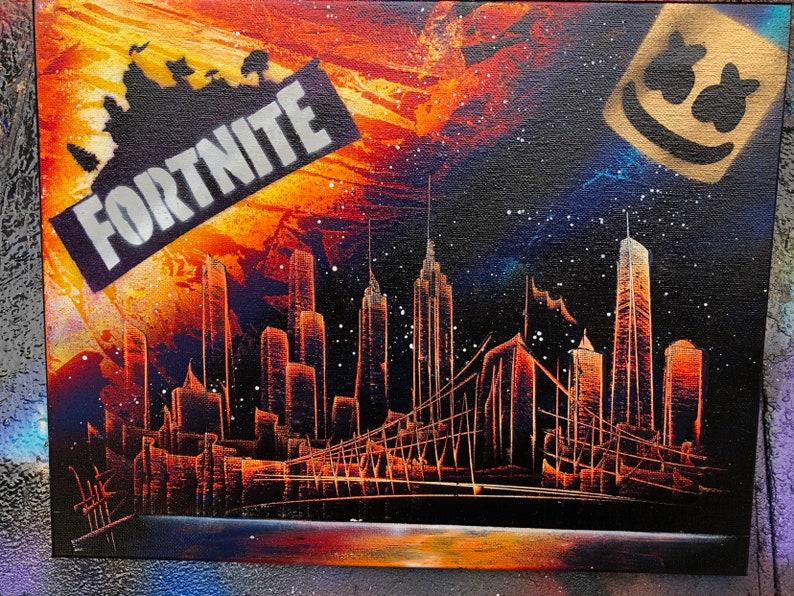 Marshmello. NYC Skyline. Spray Paint Art on Stretched Canvas. image 0