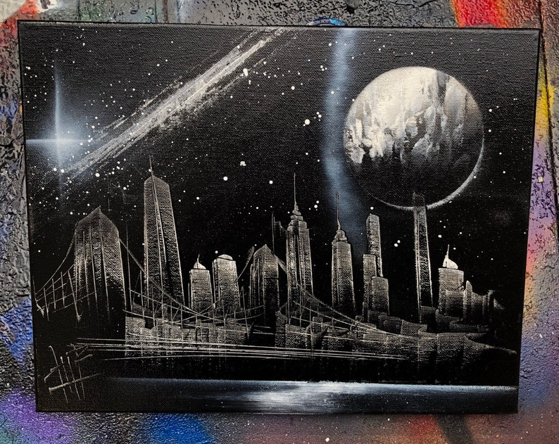 Moonlight with Milky Way. NYC Skyline. Spray Paint Art on image 0