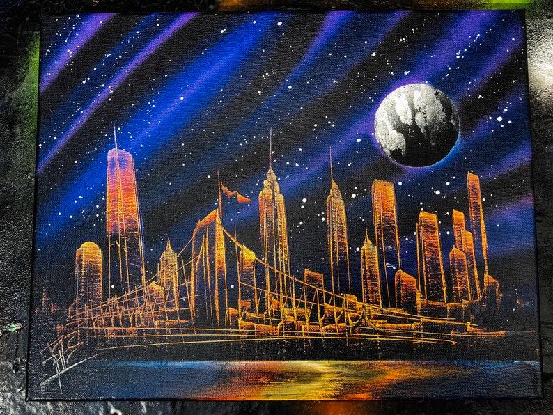 Navi. NYC Skyline. Spray Paint Art on Stretched Canvas. image 0