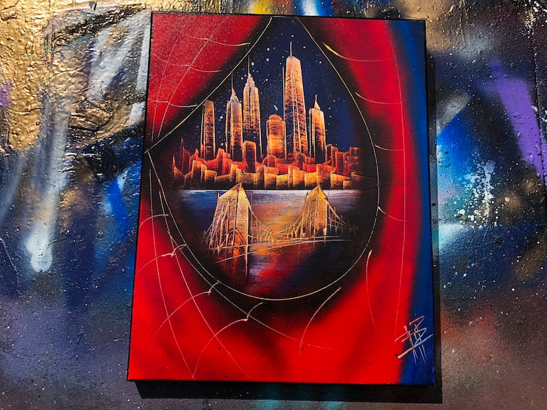 Spider-Man. NYC Skyline. Spray Paint Art on Stretched Canvas. image 0
