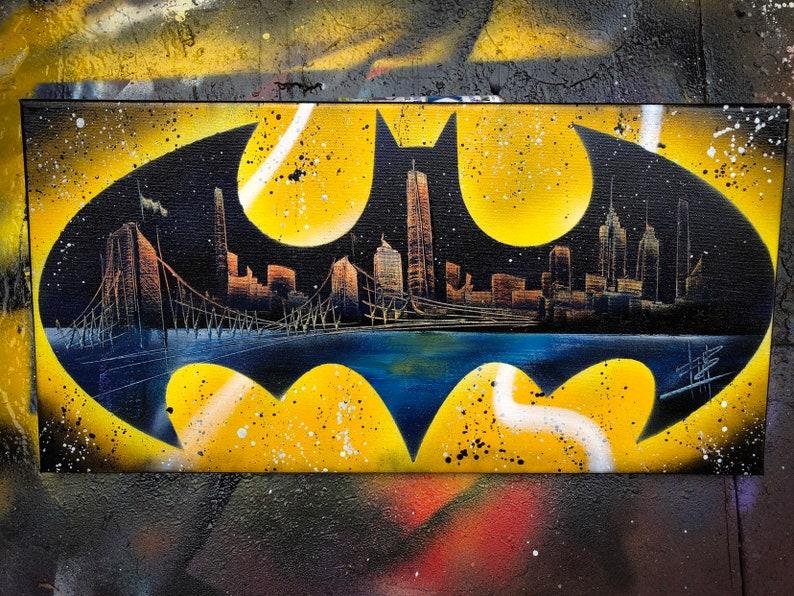 Batman. NYC Skyline. Spray Paint Art on Stretched Canvas. image 0