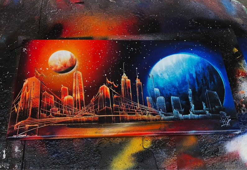 Sunset. NYC Skyline. Spray Paint Art on Stretched Canvas. image 0