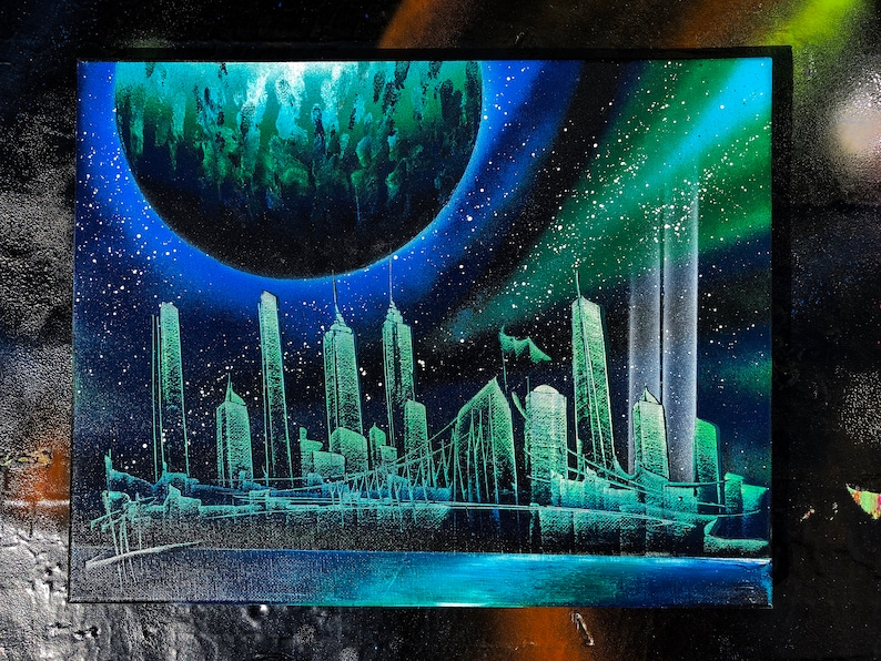 Aurora NYC Skyline. Spray Paint Art on Stretched Canvas. image 0