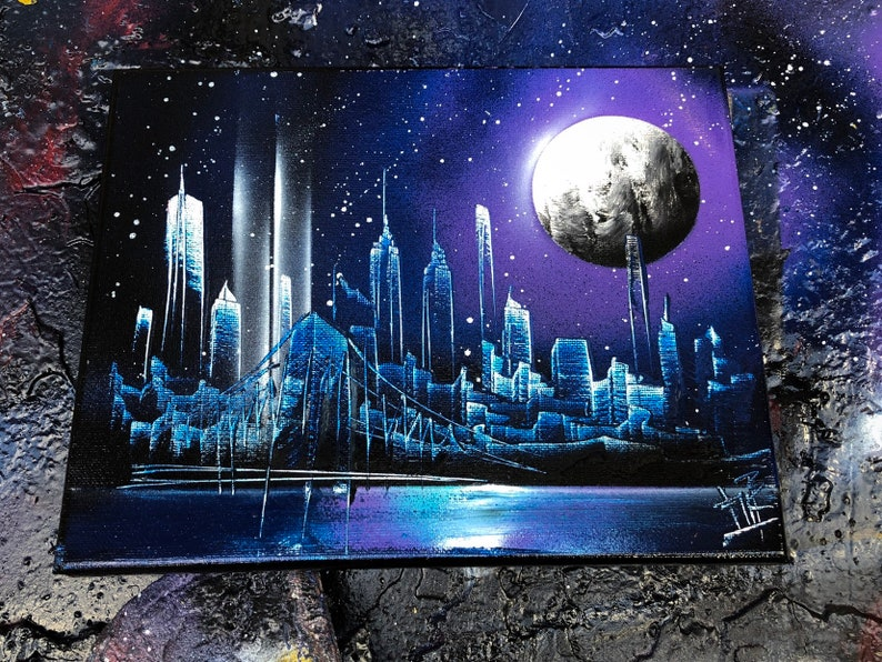 Purple Way. NYC Skyline with 9/11 lights. Spray Paint Art on image 0