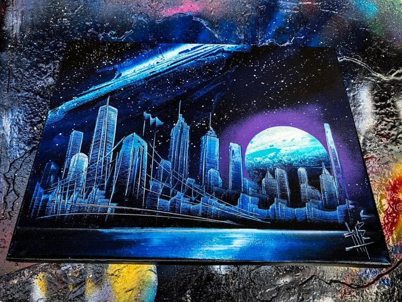 Mauna Kea. NYC Skyline. Spray Paint Art on Stretched Canvas. image 0