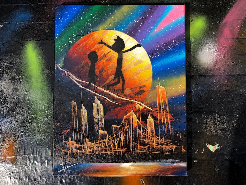 Rick and Morty. NYC Skyline. Spray Paint Art on Stretched image 0