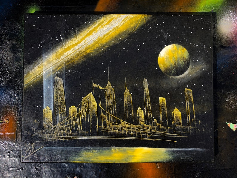 Yellow Way. NYC Skyline. Spray Paint Art on Stretched Canvas. image 0
