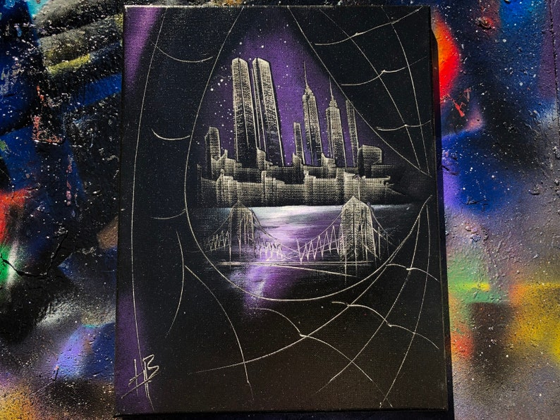 Venom Eye. NYC Skyline. Spray Paint Art on Stretched Canvas. image 0