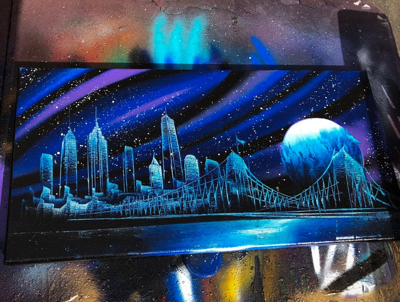Plutonium. NYC Skyline. Spray Paint Art on Stretched Canvas. image 0