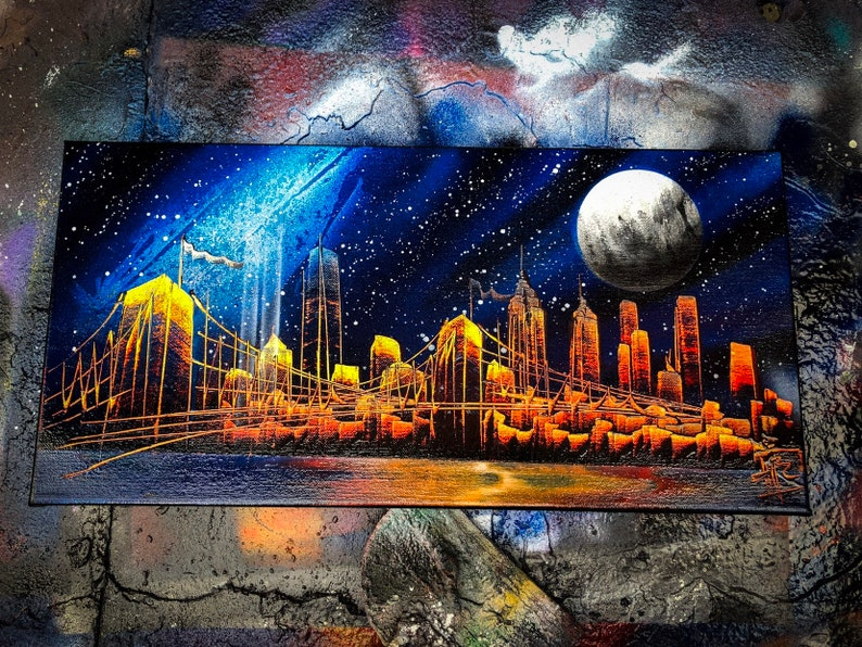 Milky Way. NYC Skyline. Spray Paint Art on Stretched Canvas. image 0