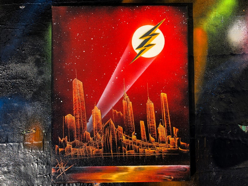 Flash. NYC Skyline. Spray Paint Art on Stretched Canvas. image 0