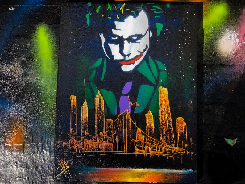The Joker. NYC Skyline. Spray Paint Art on Stretched Canvas. image 0