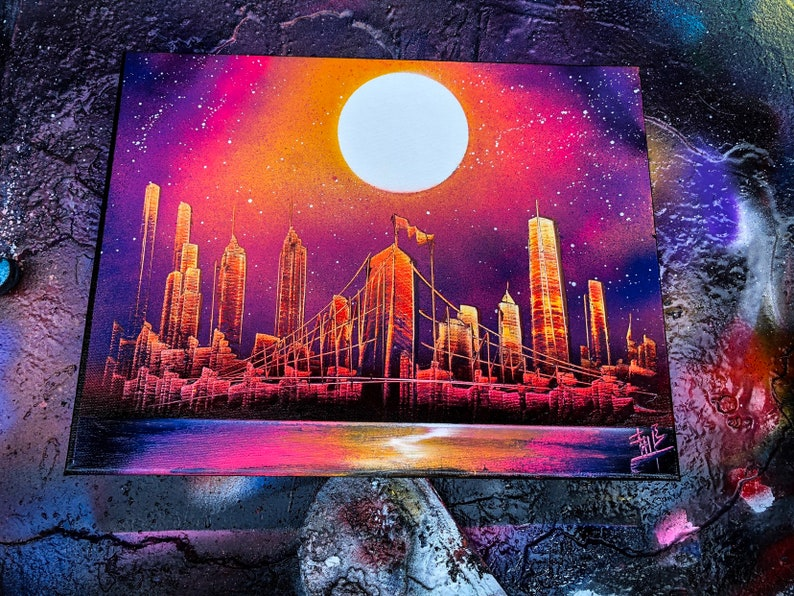Magenda Miracle. NYC Skyline. Spray Paint Art on Stretched image 0