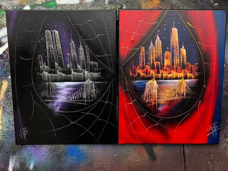 Spider-Man & Venom. NYC Skyline. Spray Paint Art on 2 image 0