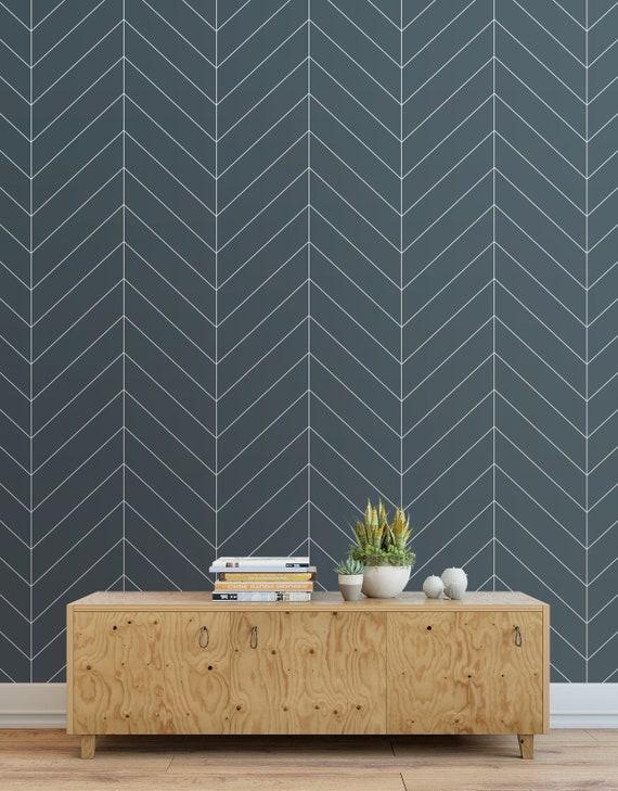 Herringbone Wallpaper Peel And Stick Tiles Modern Wallpaper Panels Dark Blue