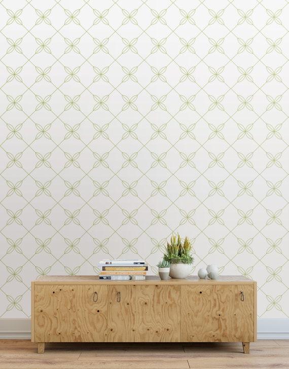 Connected Flowers Peel And Stick Wallpaper Tiles Modern Wallpaper Panels Light Green