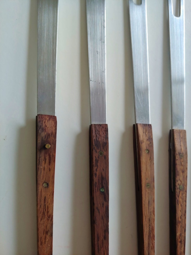 Set of 6 Mid Century Modern Teak and Stainless Fondue Forks Japan
