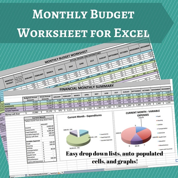 Monthly Budget Worksheet Budget Planner Home Finance | Etsy