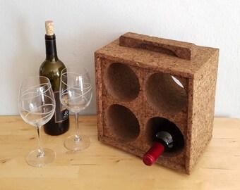 Vintage Mid Century Modern Cork Wine Rack, dark brown, 4 bottle