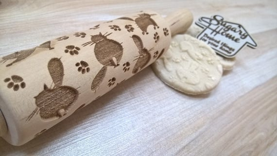 Rolling Pin Glamorous Cats Pattern Embossing Laser Cut Small Big