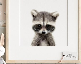 Nursery decor, Raccoon print, Woodland animals, PRINTABLE decor, Kids animal decor, Animal art, Baby animals, Woodland baby shower TCP69_