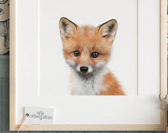 MalertaART Fox Print Fox Cub Art Baby Animals Print Woodland Animal Prints Nursery Wall Art Baby Animal Prints Nursery Decor Kids Printable Art Framed Wall Art