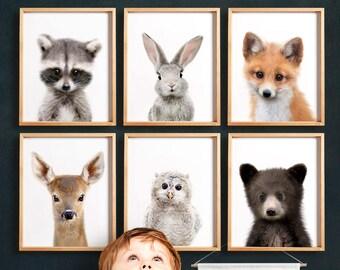 Woodland nursery prints, PRINTABLE art, Woodland animals decor, Baby animals, Nursery art, Nursery decor, Minimalist, Woodland animal prints