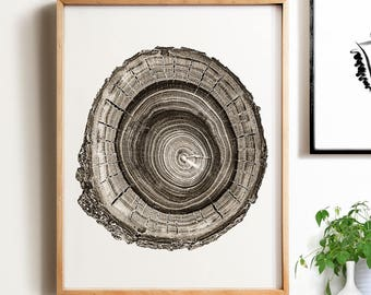 Modern minimalist art, PRINTABLE art, Wood slice, Sepia print, Modern print, Wall art print, Minimalist print, Nature print, Neutral print