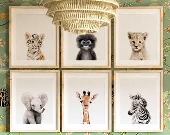 Safari nursery decor, PRINTABLE art, Safari animal prints, Nursery wall art Jungle animals, Elephant art, Baby room, Crown Prints TCP101_