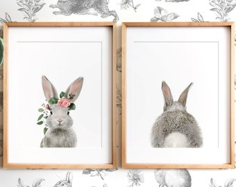 Set of 2 rabbit prints with flower crown, PRINTABLE wall art, The Crown Prints, Nursery art, Woodland animals, Animal prints for nursery
