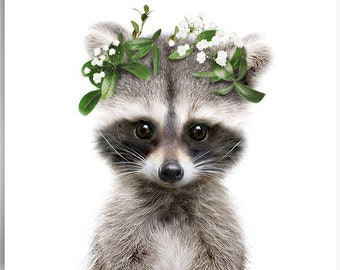 Baby raccoon print, Flower crown, PRINTABLE decor, Forest animals, Woodland nursery, Girls room decor, Woodland baby shower, Flower wreath